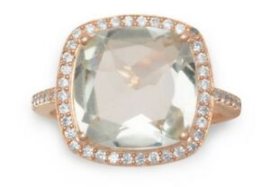 Cocktail Ring 14 KT Rose Gold Plated Large Gemstone & CZ Whole Sizes 4 - 11