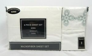 Victoria Classics Ivory Dianna Embroidered 6 Piece Bed Sheet Set King