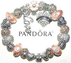 Authentic PANDORA Bracelet Sterling Silver with WIFE MOM LOVE European Charms