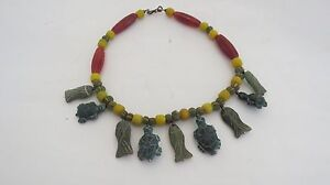 VERY RARE ANCIENT ANIMAL FIGURE JADE WITH CHARMS  BEADS  NECKLACE