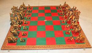 Chess Set Warrior Figure Handmade Fine Carved Vintage Look Collectible India