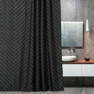 Fabric Shower Curtain Polyester Striped Mold Resistant Black 72
