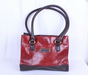 TIGNANELLO Soft Burgundy Red and Brown Leather Handbag Purse Satchel