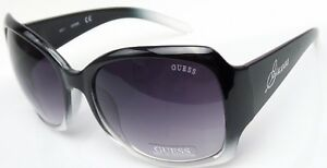 GUESS GUF200 BLK-35A Women's Black Frame Grey Lens Designer Sunglasses NEW