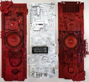 WHITE NOISE RED SILENCE - Recycled 3D Relief Painting (3 panels)