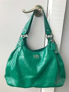 Coach Maggie Emerald Green Patent Leather Hobo Shoulder Bag