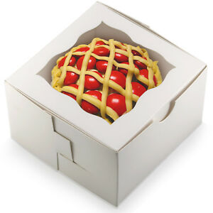 [50Pack] Bakery and Wedding Favor Boxes with Window - Gift Boxes for Cookies Ca