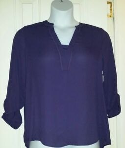 NWT~SIMPLY VERA WANG~WOMEN'S~PURPLE ~34 ROLL TAB SLEEVE~WOVEN BLOUSE~SZ M