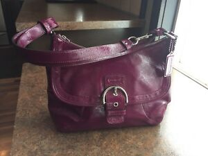 Beautiful Coach Plum Patent Leather Soho Flap Large Crossbody Shoulder Bag