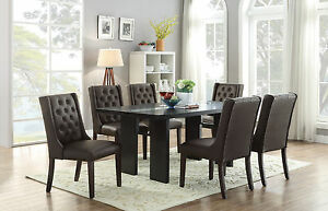 7 pcs Casual Dining Set Solid Wood Dinnig Table Beautiful Parson Side Chairs New