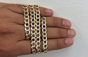 Mens Solid 14k Yellow Gold 7mm Cuban Curb Chain 24