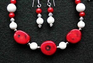BEAUTIFUL! Red and & White CORAL Gemstone Choker Necklace Set