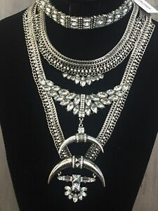 Baublebar Statement Bib Necklace & Rhinestone Choker NWT