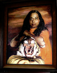 Vintage Paramahansa Yogananda Signed Original Oil on Panel Board Framed