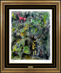 Marc Chagall Original Color Etching Hand Signed Cerf Vigne Fables Fontaine Art