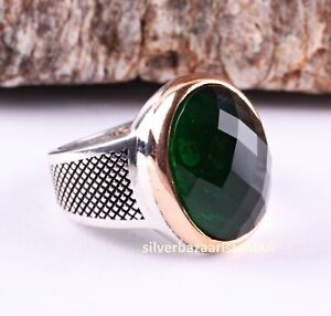 Turkish jewelry 925 Sterling Silver Green Emerald Nice Mens ring USA ALL SİZE 1