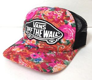 LikeNew! Womens VANS OFF THE WALL TRUCKER HAT Floral Tropical Pink Black Patch