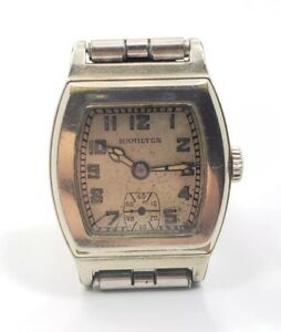 Vintage Mens 1931 Hamilton Raleigh White Gold Filled Unique Wrist Watch