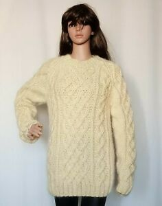 Hand Knitted WOOL MOHAIR womens sweater crewneck LONG fuzzy cable thick Jumper