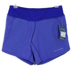 NWT Brooks Womens Running Shorts Size XS Blue Run Happy Drilayer Pockets New