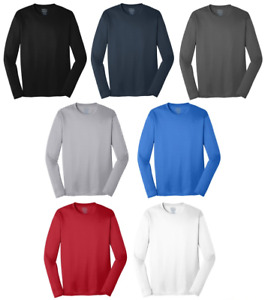 Mens Moisture Wicking Dry Long Sleeve Dri Fit Running T shirts S 4XL NEW PC380LS $8.95