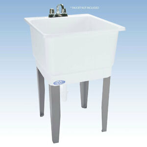 Freestanding Utility Sink Laundry Tub Floor Mount Single Faucet Wash Bowl Basin