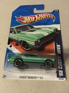 Hot Wheels '68 Chevy Nova Street Beasts '11 #T9789 NIP Green 2/10