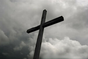 Wooden Cross Under Storm Clouds Bamp;W Photo Art Print Poster 18x12 inch $7.99