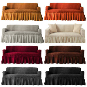 1 2 3 4 Seat Cotton Linen Slipcover Sofa Couch Cover Protector Machine Washable $32.98