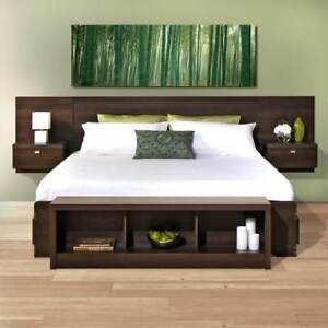 King Size Upholstered Floating Headboard Bed Frame Platform Modern Furniture