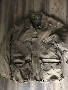 BANANA REPUBLIC Mens Vintage SAFARI CANVAS RARE Leather Collar Jacket Size Large