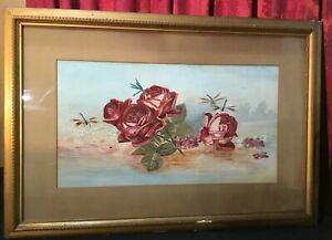 VINTAGE ANTIQUE VICTORIAN WATERCOLOR STILL LIFE OF ROSES W DRAGONFLIES
