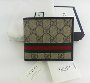 New Gucci Men's Leather Guccissima Web Bifold Wallet !!