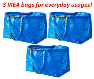 3 IKEA SHOPPING BAG NEW LARGE REUSABLE LAUNDRY TOTE GROCERY STORAGE FRAKTA deal