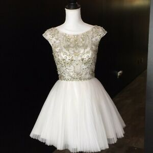 Sherri Hill 2814 Size 4 sequined cap sleeve short white cocktail prom dress