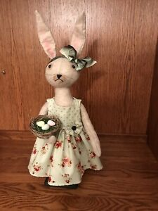 Handmade Primitive Folk Art Standing Bunny Rabbit Doll