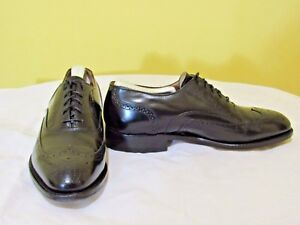 JOHNSTON & MURPHY Men's Dress Shoes Black Leather Lace-up wupper Design SIZE 8