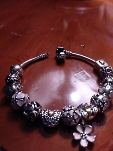 authentic pandora charm bracelet with charms gold and silver