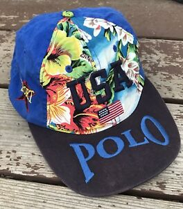 Vintage Polo Sport Hat USA Tropical Floral Spell Out Stadium 92 Polo Bear P Wing
