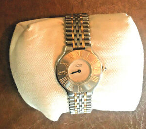 Cartier Must 21 Ladies Gold & Stainless Steel Bullet Band 28mm Watch