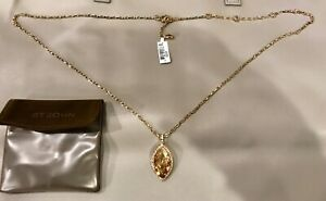 NWT ST JOHN DESIGNER PENDANT NECKLACE LARGE GOLD CRYSTAL & GOLD COLOR CHAIN $250