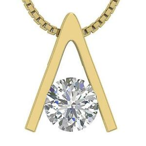 Solitaire Pendant Necklace Natural Round Cut Diamond I1 G 0.50 Ct Set 14K Gold