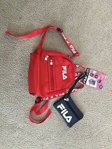 New Fila Jennifer Mini Backpack With Coin Purse NavyRed Leather Rare