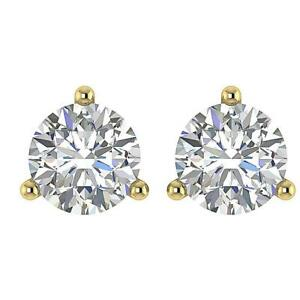 Solitaire Studs Earrings I1 G 0.85 Carat Round Diamond Martini Set Yellow Gold