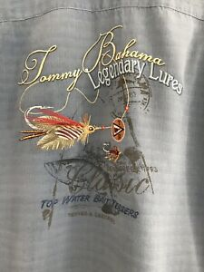 Tommy Bahama Legendary Lures Embroidered Blue Silk Camp Shirt XXL