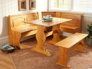 Dining Table Set Corner Breakfast Nook Booth Kitchen Solid Pine Chair Wood Bench