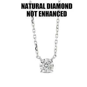 D VS1 REAL NATURAL CLARITY DIAMOND SOLITAIRE PENDANT NECKLACE 14K WHITE GOLD