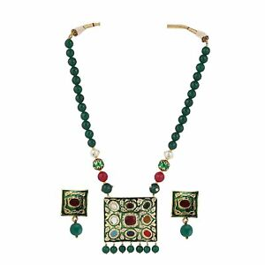 Designer Green Gold Plated Strand Necklace For Women's US136