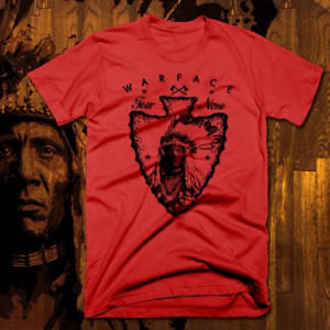 Native American Indian T-Shirt Warrior Chief Skull With Headress, Tomahawk red