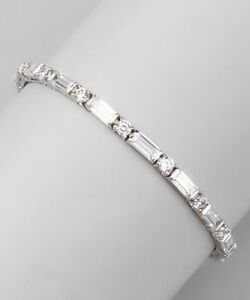 5.00 CT D VVS1 Round and Baguette Diamond Tennis Bracelet 14k White Gold Over